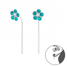 Flower - 925 Sterling Silver Earrings with Crystal stones A4S32496