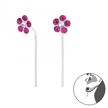 Flower - 925 Sterling Silver Earrings with Crystal stones A4S32497