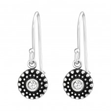 Oxidized - 925 Sterling Silver Earrings with Crystal stones A4S33841