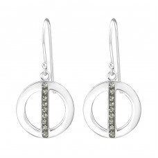 Circle - 925 Sterling Silver Earrings with Crystal stones A4S34643