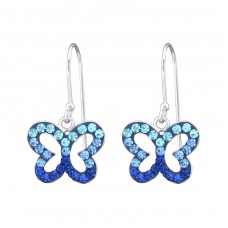 Butterfly - 925 Sterling Silver Earrings with Crystal stones A4S35057