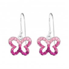Butterfly - 925 Sterling Silver Earrings with Crystal stones A4S35058