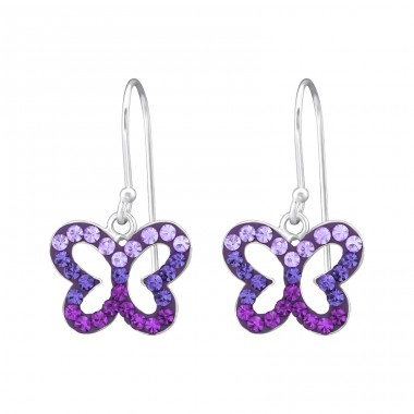 Butterfly - 925 Sterling Silver Earrings with Crystal stones A4S35059