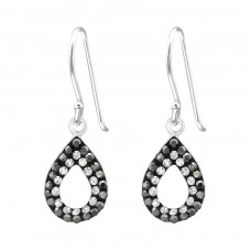 Teardrop - 925 Sterling Silver Earrings with Crystal stones A4S35062