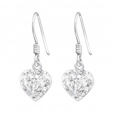 Heart - 925 Sterling Silver Earrings with Crystal stones A4S35083