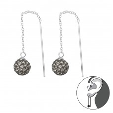 Sparkling Ball Thread Through Earring - 925 Sterling Silver Earrings with Crystal stones A4S35665