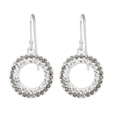 Circle - 925 Sterling Silver Earrings with Crystal stones A4S36546