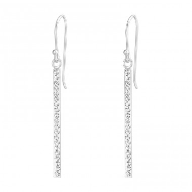 Bar - 925 Sterling Silver Earrings with Crystal stones A4S36658