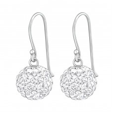 Crystal Ball - 925 Sterling Silver Earrings with Crystal stones A4S36907