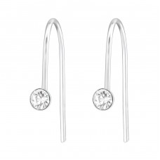 Round - 925 Sterling Silver Earrings with Crystal stones A4S37265