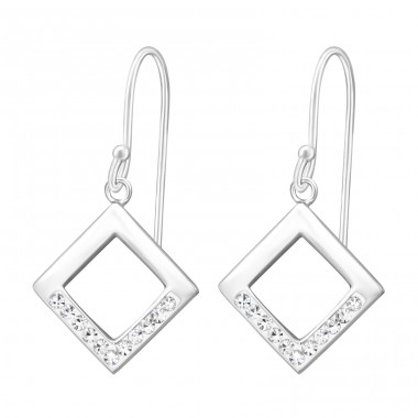 Square - 925 Sterling Silver Earrings with Crystal stones A4S37595