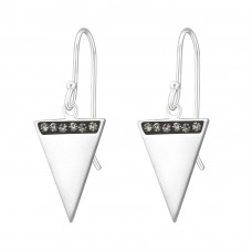 Triangle - 925 Sterling Silver Earrings with Crystal stones A4S37596
