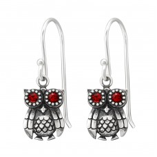 Owl - 925 Sterling Silver Earrings with Crystal stones A4S37800