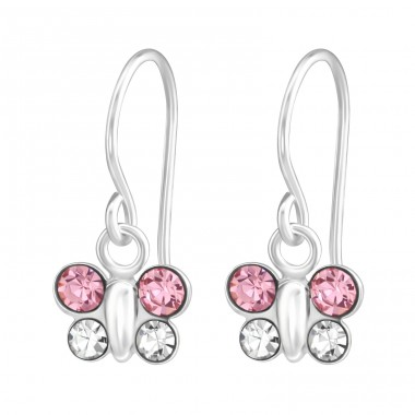 Butterfly - 925 Sterling Silver Earrings with Crystal stones A4S37965