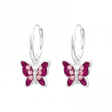 Butterfly - 925 Sterling Silver Earrings with Crystal stones A4S38550