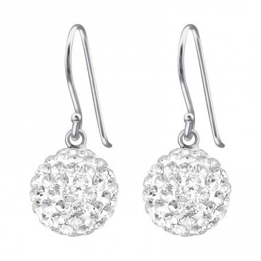 Round - 925 Sterling Silver Earrings with Crystal stones A4S39774