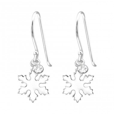 Snowflake - 925 Sterling Silver Earrings with Crystal stones A4S40009