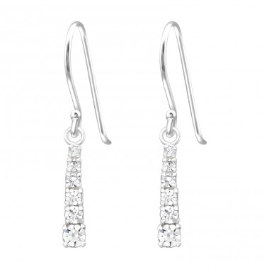 Bar - 925 Sterling Silver Earrings with Crystal stones A4S40016