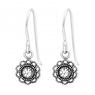 Flower antique look - 925 Sterling Silver Earrings With Crystal Stones A4S41035