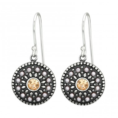 Round - 925 Sterling Silver Earrings with Crystal stones A4S41037