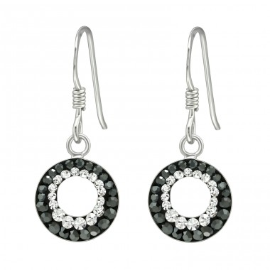Circle of crystals - 925 Sterling Silver Earrings With Crystal Stones A4S41038