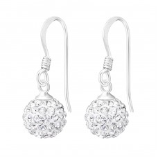 Crystal Ball - 925 Sterling Silver Earrings with Crystal stones A4S5605