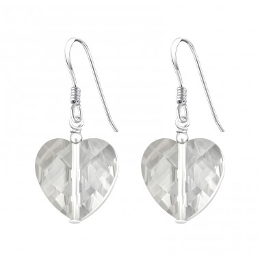 Dangly Hearts - 925 Sterling Silver Earrings with Crystal stones A4S6592