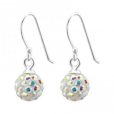 Crystal Ball - 925 Sterling Silver Earrings with Crystal stones A4S6675