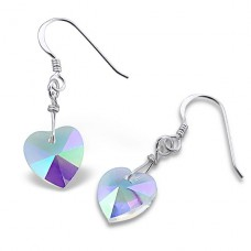 Dangly Hearts - 925 Sterling Silver Earrings with Crystal stones A4S6911