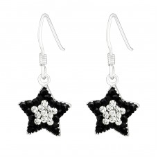 Star - 925 Sterling Silver Earrings with Crystal stones A4S9667