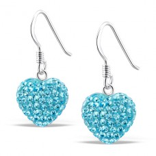 Heart - 925 Sterling Silver Earrings with Crystal stones A4S9750