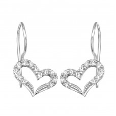 Heart - 925 Sterling Silver Earrings with Zirconia stones A4S12542