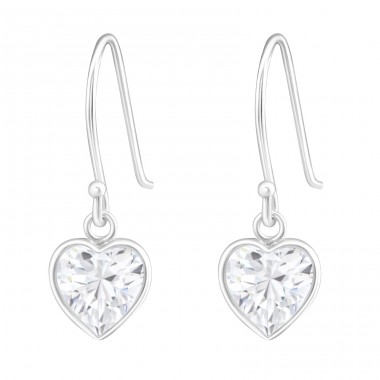 Heart - 925 Sterling Silver Earrings with Zirconia stones A4S13378