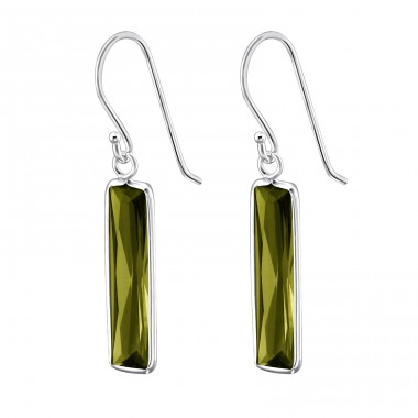 Rectangle - 925 Sterling Silver Earrings with Zirconia stones A4S1370