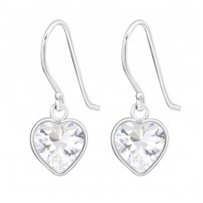 Heart - 925 Sterling Silver Earrings with Zirconia stones A4S1372
