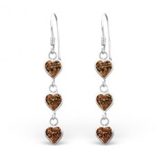 Hanging Hears - 925 Sterling Silver Earrings with Zirconia stones A4S1377