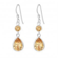 Hanging Circle And Teardrop - 925 Sterling Silver Earrings with Zirconia stones A4S1385