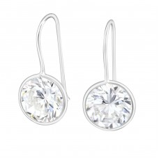 Round - 925 Sterling Silver Earrings with Zirconia stones A4S14467