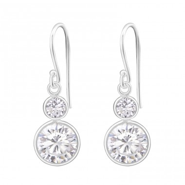 Hanging Circles - 925 Sterling Silver Earrings with Zirconia stones A4S14474