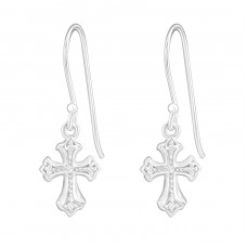 Cross - 925 Sterling Silver Earrings with Zirconia stones A4S14554
