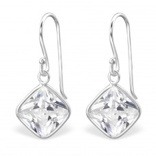 Square - 925 Sterling Silver Earrings with Zirconia stones A4S17057