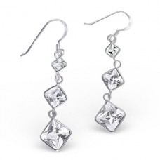 Hanging Squares - 925 Sterling Silver Earrings with Zirconia stones A4S18310