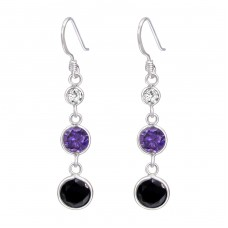 Hanging Circles - 925 Sterling Silver Earrings with Zirconia stones A4S18312