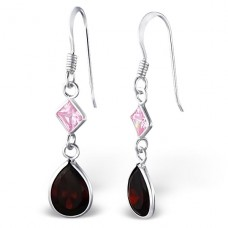 Hanging Square And Tear Drop - 925 Sterling Silver Earrings with Zirconia stones A4S18769
