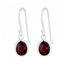 Oval - 925 Sterling Silver Earrings with Zirconia stones A4S19107