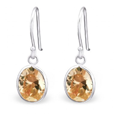 Oval - 925 Sterling Silver Earrings with Zirconia stones A4S19108