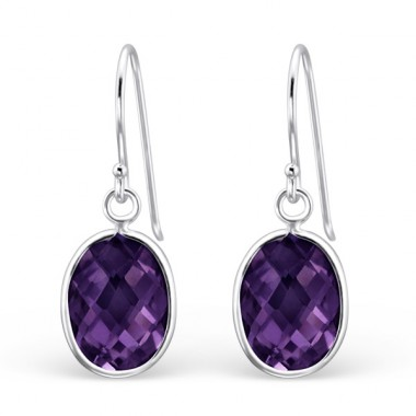 Oval - 925 Sterling Silver Earrings with Zirconia stones A4S22305