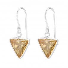 Triangle - 925 Sterling Silver Earrings with Zirconia stones A4S23255