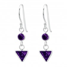 Triangle - 925 Sterling Silver Earrings with Zirconia stones A4S23315