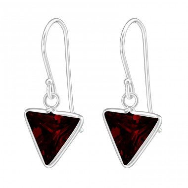 Triangle - 925 Sterling Silver Earrings with Zirconia stones A4S23316